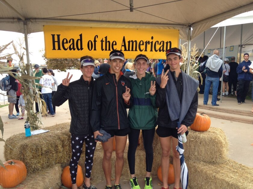 San Diego Rowing Club Varsity Men's Rowers (L-R): Jack Piegza, James Jacoby, Zander Cowan, Cooper Ball