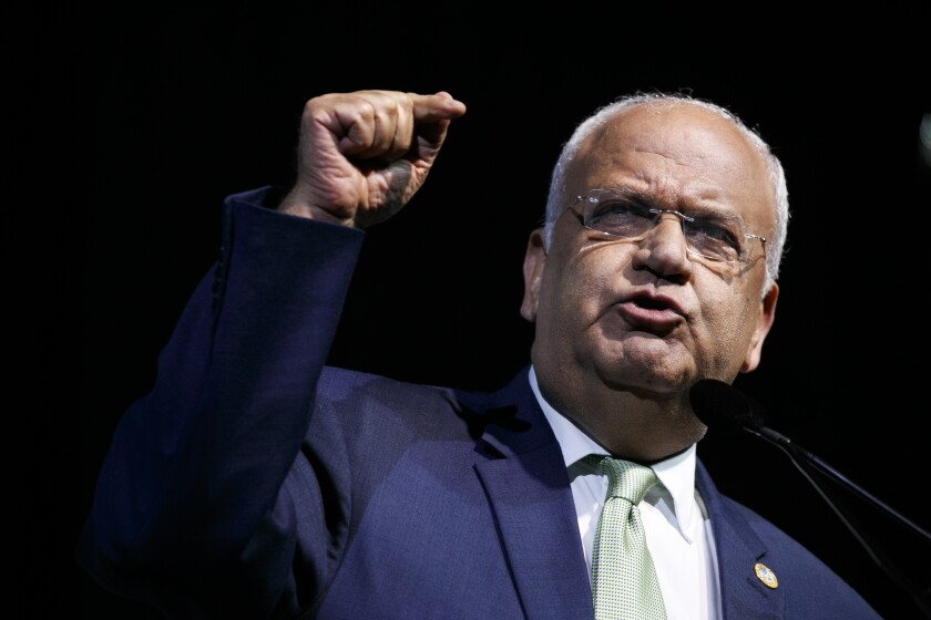 FILE - In this Oct. 28, 2019 file photo, Chief Palestinian negotiator Saeb Erekat speaks at the J Street National Conference, in Washington. Erekat on Monday, Oct. 19, 2020, was in critical condition and breathing with a ventilator after his coronavirus infection worsened overnight, said the Israeli hospital treating him. Hadassah Medical Center described Erekat's case as extremely challenging given his history of health problems, including a lung transplant performed in the United States three years ago. (AP Photo/Jacquelyn Martin, File)