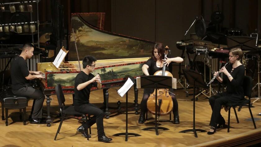 "Brendan Nguyen (harpsichord), Michael Matsuno (flute), Judith Hamann (cello) and Lara Wickes (oboe) in Bill Hopkins' ""En Attendant"" at the Monday Evening Concerts at Ziipper Concert Hall, Colburn School on Mar. 16, 2015."