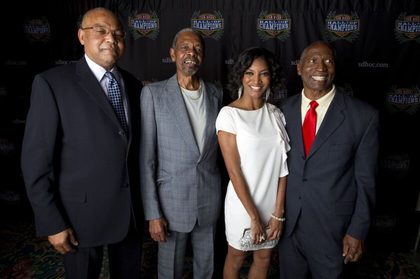 Bernie Bickerstaff, left, appears at 2012 Hall of Champions event