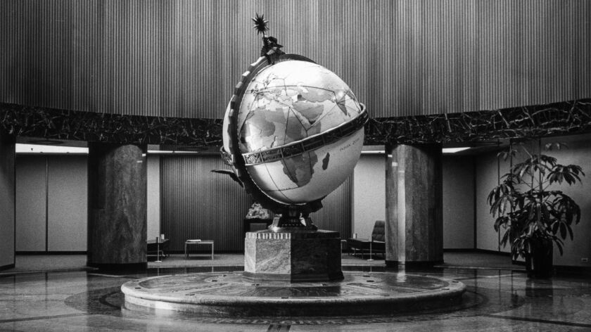 Undated photo of the Globe Lobby at the Los Angeles Times Building at First and Spring in downtown L