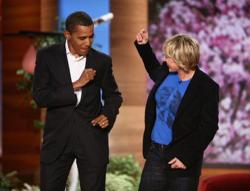 """Barack Obama and Ellen DeGeneres share some dance moves on the """"Ellen"""" show in 2007, when Obama was running for president the first time."""