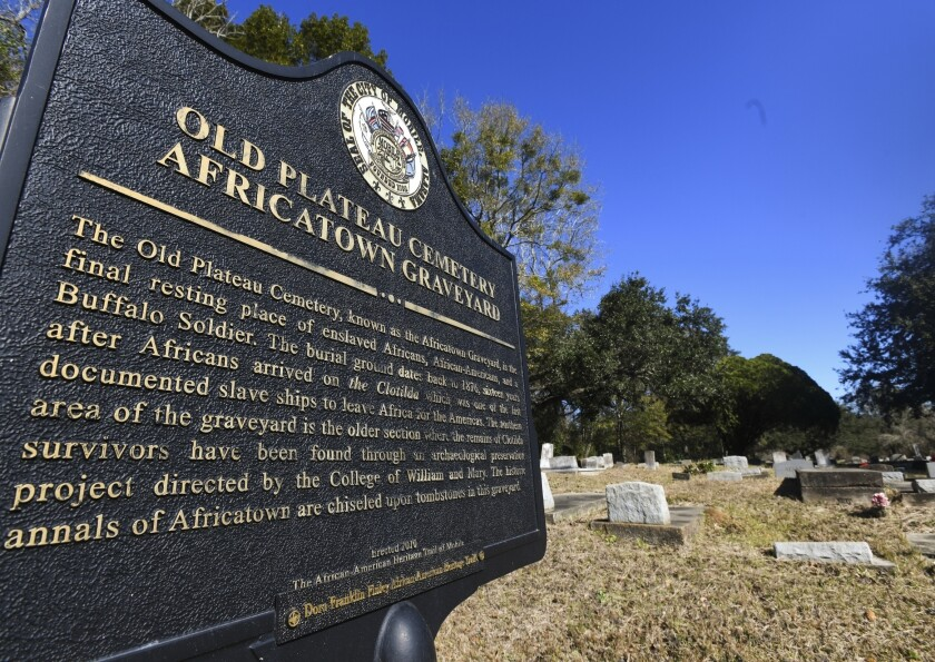 A cemetery in Africatown in Mobile, Ala.