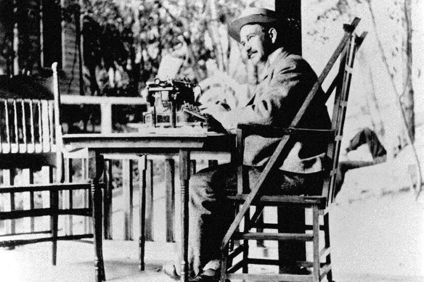 L. Frank Baum at work on his porch at his home in Coronado.