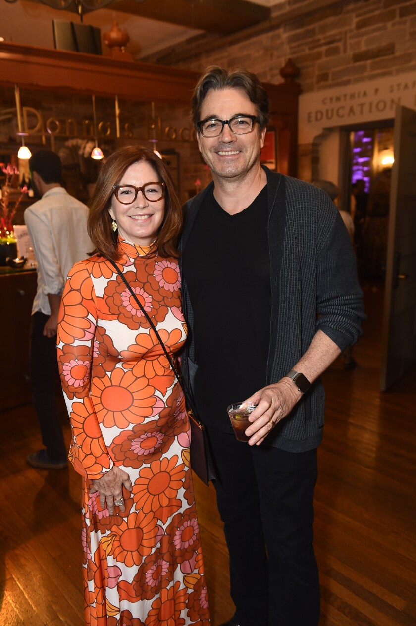 "Dana Delany and Jon Tenney following the performance of ""Skintight."""