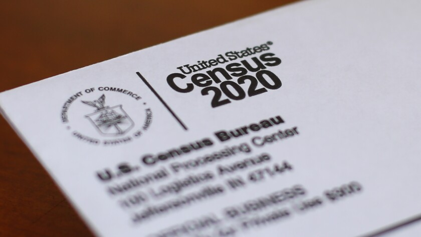 An envelope containing a 2020 census letter mailed to a U.S. resident in Detroit.