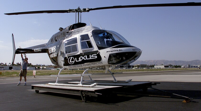 A system for collecting complaints about helicopter noise in Los Angeles County was launched Tuesday. Above, a news helicopter at Van Nuys Airport in 2001.