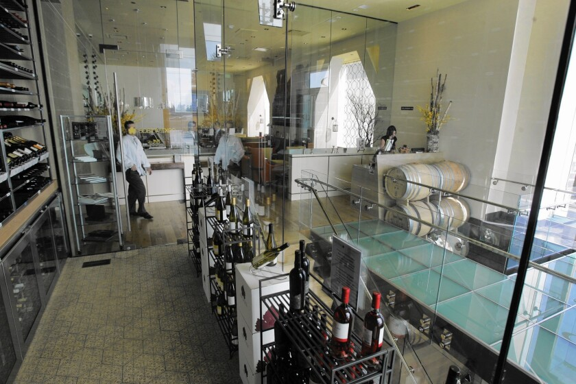 One of several glass wine rooms at Charlie Palmer restaurant at South Coast Plaza, Costa Mesa, in 2008..