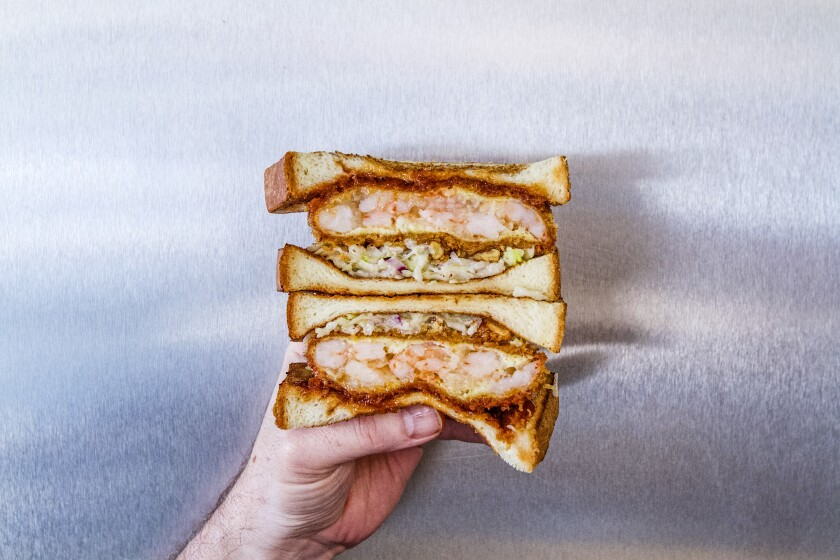 Next year Katsu Sando's sandwiches, such as the walnut shrimp sando, are headed to San Gabriel.