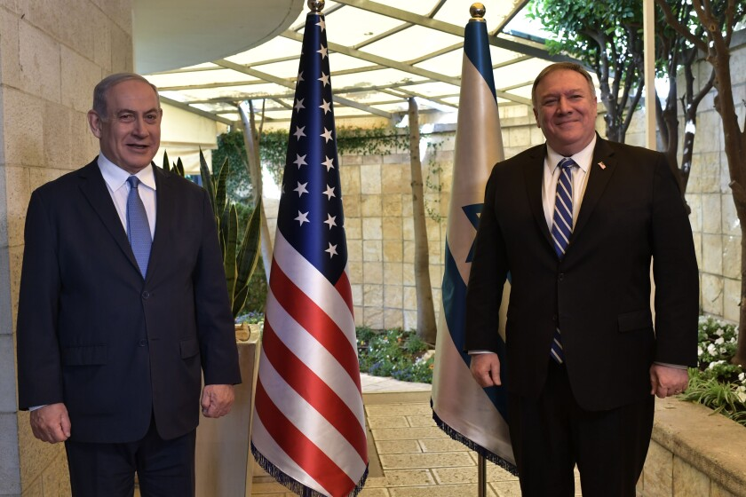 Israeli Prime Minister Benjamin Netanyahu, left, meets with Secretary of State Michael R. Pompeo on Wednesday in Jerusalem.