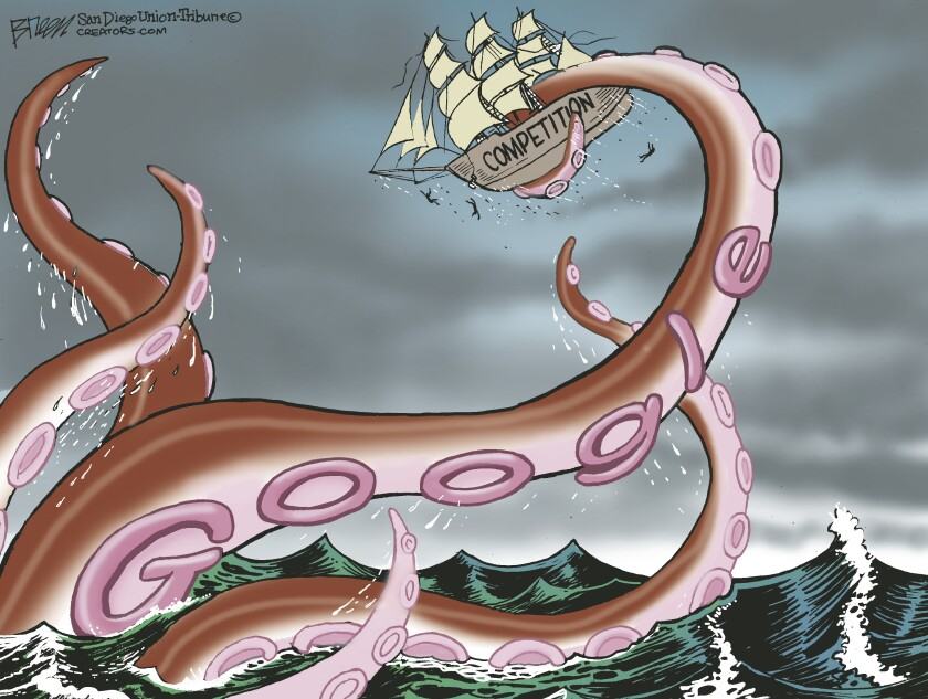 """In this Breen cartoon, a giant sea monster labeled """"Google"""" attacks a clipper ship labeled """"competition"""""""
