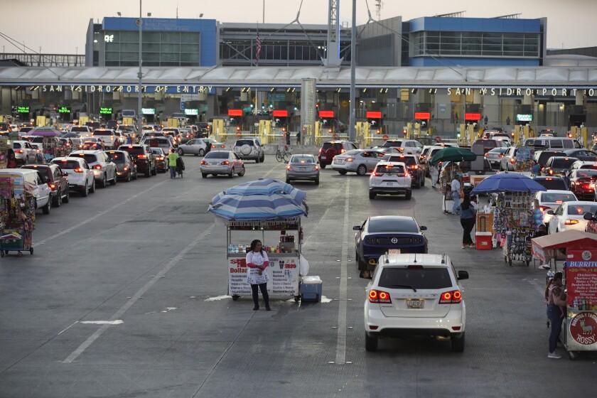 Traffic into San Ysidro from Tijuana.
