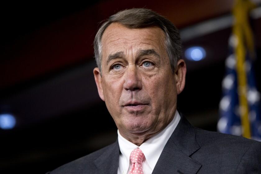 House Speaker John A. Boehner of Ohio speaks on Capitol Hill in Washington.