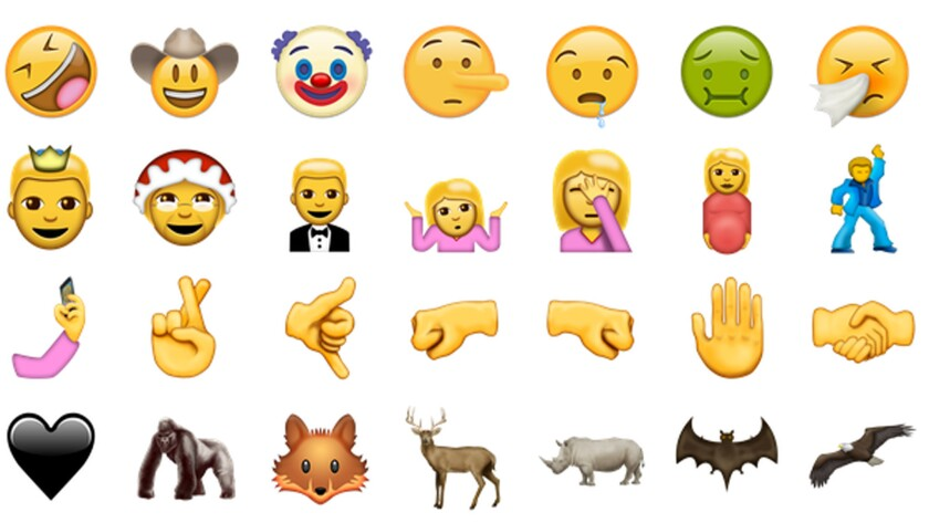 Some of the new emojis being released with Unicode version 9.0.