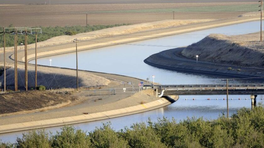 In the California's Westland Water District of the Central Valley, canals carry water to southern California.