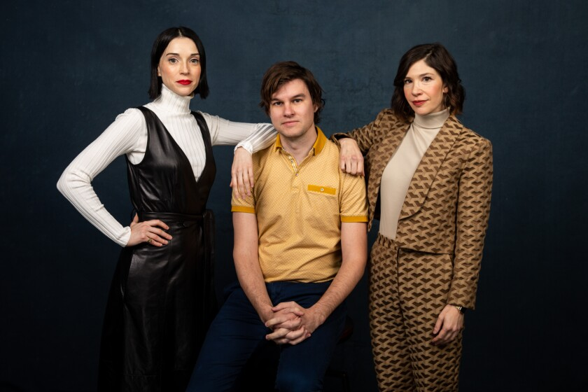 """Annie Clark (a.k.a. St. Vincent), left,  director Bill Benz and Carrie Brownstein of """"The Nowhere Inn,"""" photographed in the L.A. Times Studio at the Sundance Film Festival in Park City, Utah."""