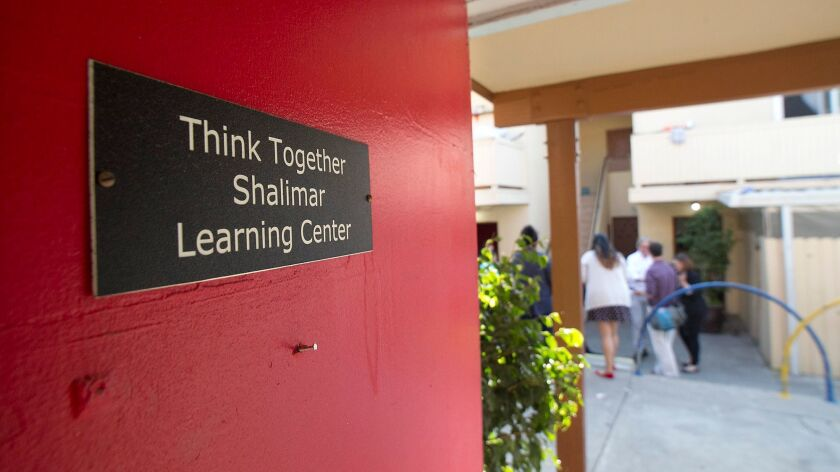 The front door of the original building of the THINK Together Shalimar Learning Center in Costa Mesa