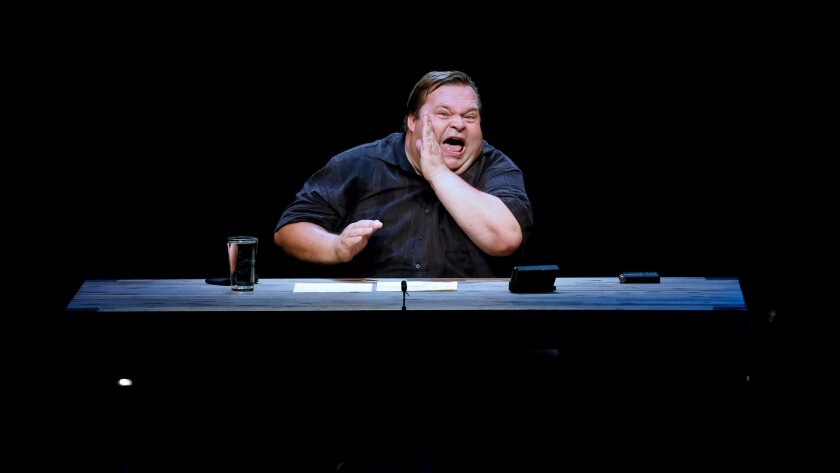"Mike Daisey performs ""The Trump Card"" at the Broad Stage in Santa Monica."