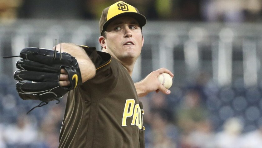 San Diego Padres starting pitcher Drew Pomeranz works against the Colorado Rockies during the first inning of a baseball game Friday, June 3, 2016, in San Diego. (AP Photo/Lenny Ignelzi)