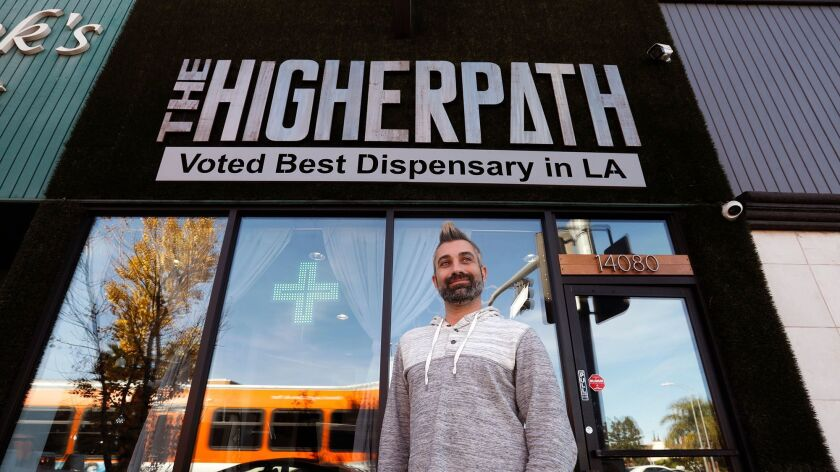 Marijuana ClashJerred Kiloh, owner of The Higher Path, plans to shut down his marijuana dispensary in January because Los Angeles has not yet issued city licenses for pot shops.