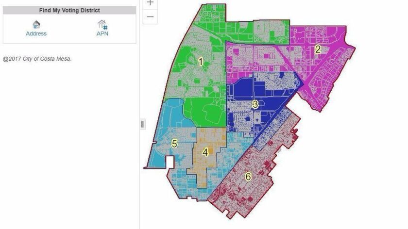 Costa Mesa voting districts