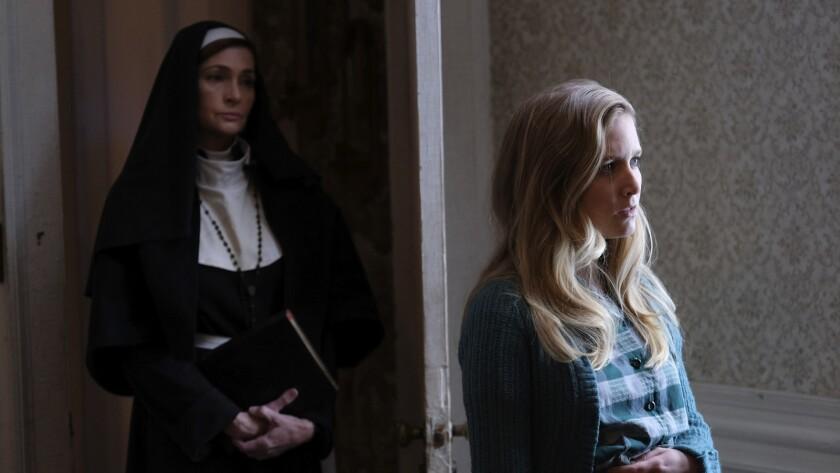 (L-R) Carolyn Hennesy as Mother Superior and Sabrina Kern in the horror film ?ST. AGATHA? an Uncork?