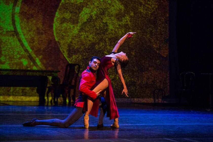"Grigori Arakelyan and Elen Harutyunyan costar in Pacific Ballet Dance Theatre's locally touring production of ""Carmen."""