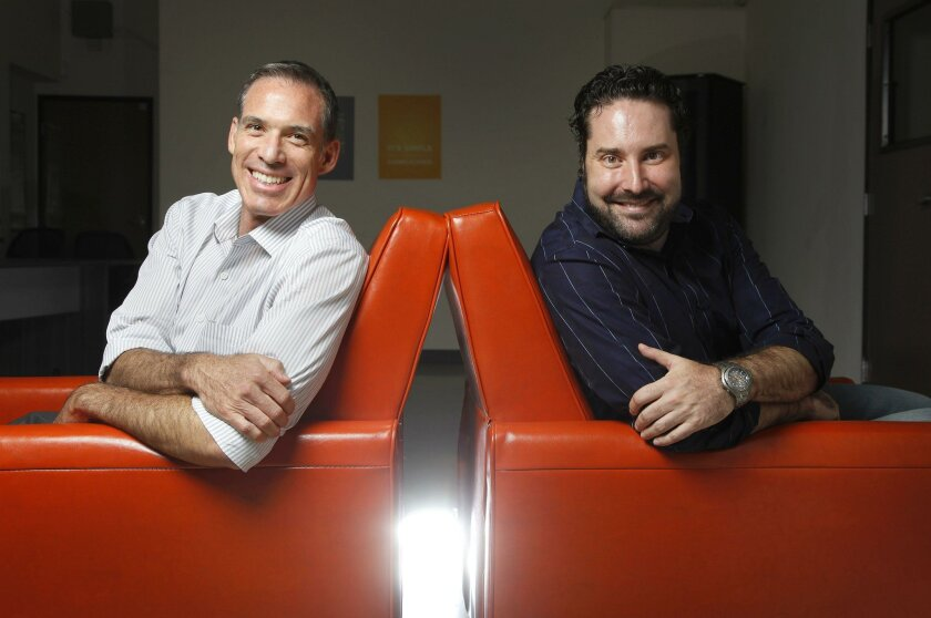 CEO Eric Gomez, left, and Managing Partner Jack Scatizzi are two principals at Canopy San Diego. The company is gunning to be Southern California's first accelerator to fund and support tech-based cannabis startups.