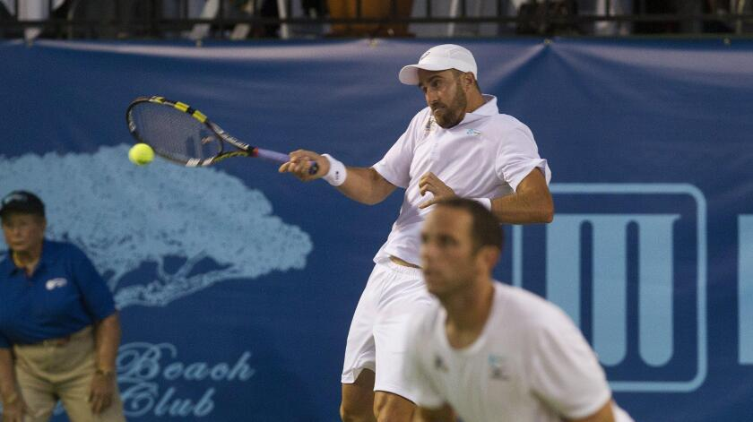 The Orange County Breakers' Steve Johnson, shown hitting a forehand during the 2016 World Team Tennis season, returns to the Breakers for the 2020 season in West Virginia.
