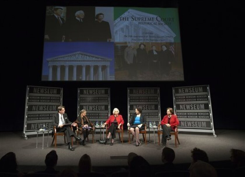 From left: James Duff president and CEO of the Freedom Forum, former Supreme Court Justice Sandra Day O'Connor, Supreme Court Justices Ruth Bader Ginsburg, Sonia Sotomayor and Elena Kagan, attend a forum to celebrate the 30th anniversary of Sandra Day O'Connor's appointment to the Supreme Court, at the Newseum in Washington, Wednesday, April 11, 2012. (AP Photo Manuel Balce Ceneta)