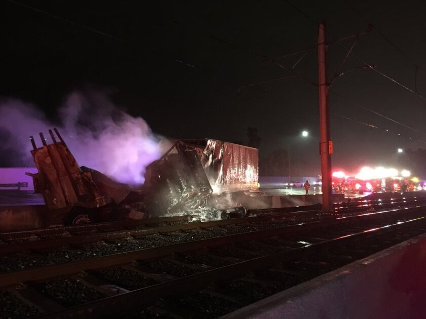 Fire from a big-rig crash early Sunday morning forced the closure of a section of the Gold Line, authorities said.