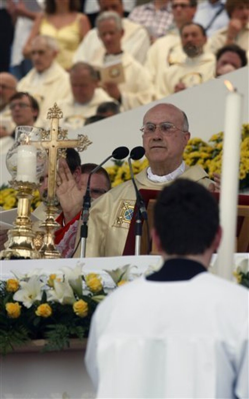 Pope Benedict XVI's state secretary  Tarcisio Bertone beatifies  Slovenian student Lojze Grozde killed by the communists during the World War II, at the mass in Celje, Slovenia, Sunday, June 13, 2010.  Grozde, who died in 1943 at the age of 20, is the first beatified martyr in the predominantly Rom