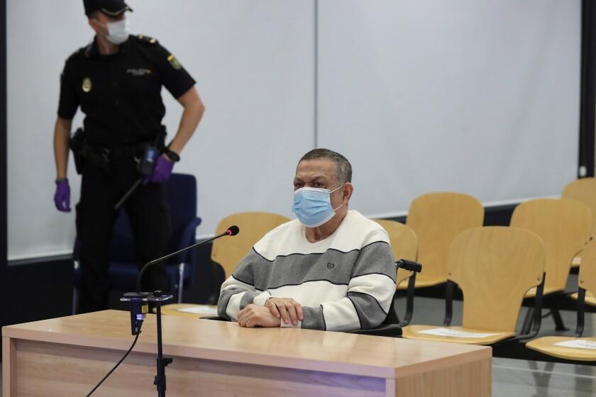 Inocente Orlando Montano en un juicio en Madrid, España, el lunes 8 de junio de 2020.