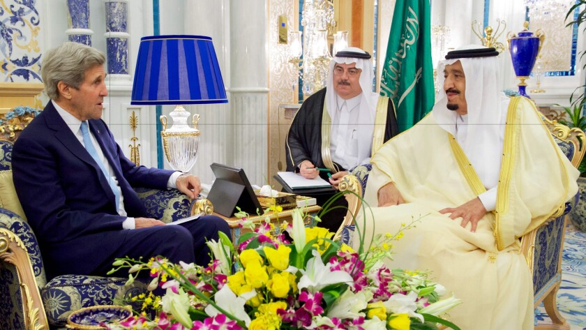 Secretary of State John Kerry meeting Sunday with Saudi King Salman (right)