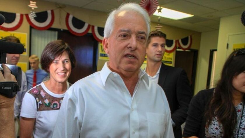 Republican gubernatorial candidate John Cox delivers a pizza lunch to Rep.Mimi Walters campaign headquarters in Newport Beach on Election Day, Tuesday November 6, 2018.