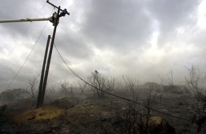 An SDG&E worker atop pole works on a downed power line following fires in October 2007.