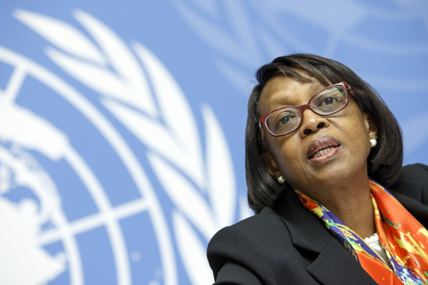 """FILE - In this Friday, Feb. 1, 2019 file photo, Matshidiso Moeti, World Health Organization (WHO) Regional Director for Africa, speaks to the media at the European headquarters of the United Nations in Geneva, Switzerland. Health officials in Africa say the rollout of new rapid diagnostic tests for COVID-19 could be a """"game-changer"""" for its fight against the coronavirus, while warning that increased testing could also drive up numbers for a continent that has seen a decline or a plateauing in confirmed cases — at a time when the West has seen case counts soar. """"African countries are gearing up to introduce antigen-based rapid diagnostic tests on a large scale, and this will be a game changer, we think, in the fight against COVID-19,"""" said Dr. Matshidiso Moeti. (Salvatore Di Nolfi/Keystone via AP, file)"""