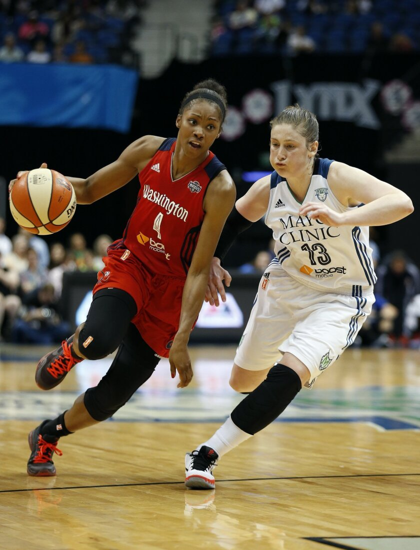 Washington Mystics guard Tayler Hill (4) drives against Minnesota Lynx guard Lindsay Whalen (13) during the second half of a WNBA basketball game, Wednesday, Aug. 19, 2015, in Minneapolis. The Mystics won 79-61. (AP Photo/Stacy Bengs)