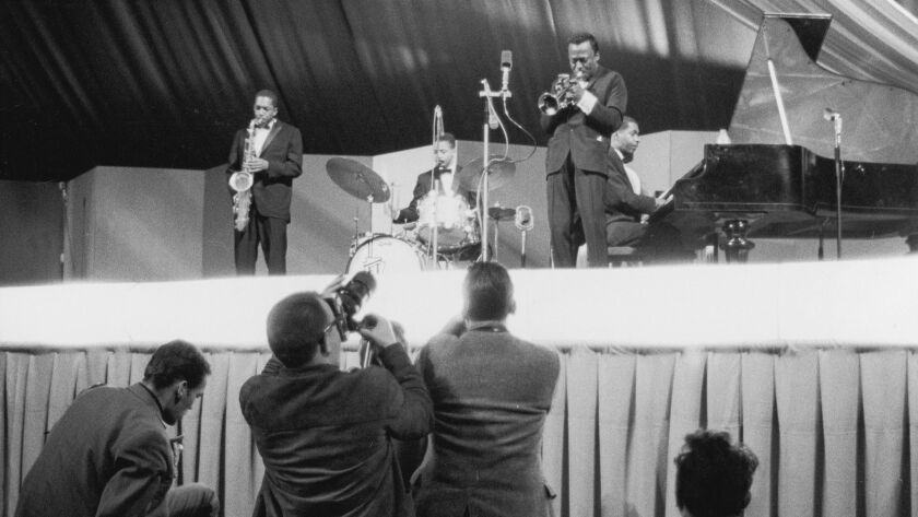 Jazz Musician Miles Davis On A Jatp Concert (Jazz At The Philharmonic). 1960. Photograph.