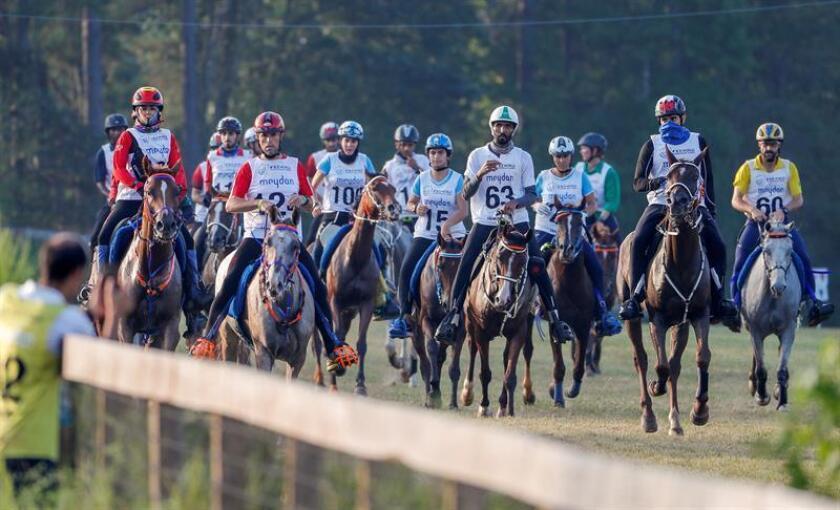 Jinetes compiten durante la prueba de resistencia de los Juegos Ecuestres Mundiales en el Centro Ecuestre Internacional Tryon en Mill Spring, Carolina del Norte (Estados Unidos). EFE/Archivo