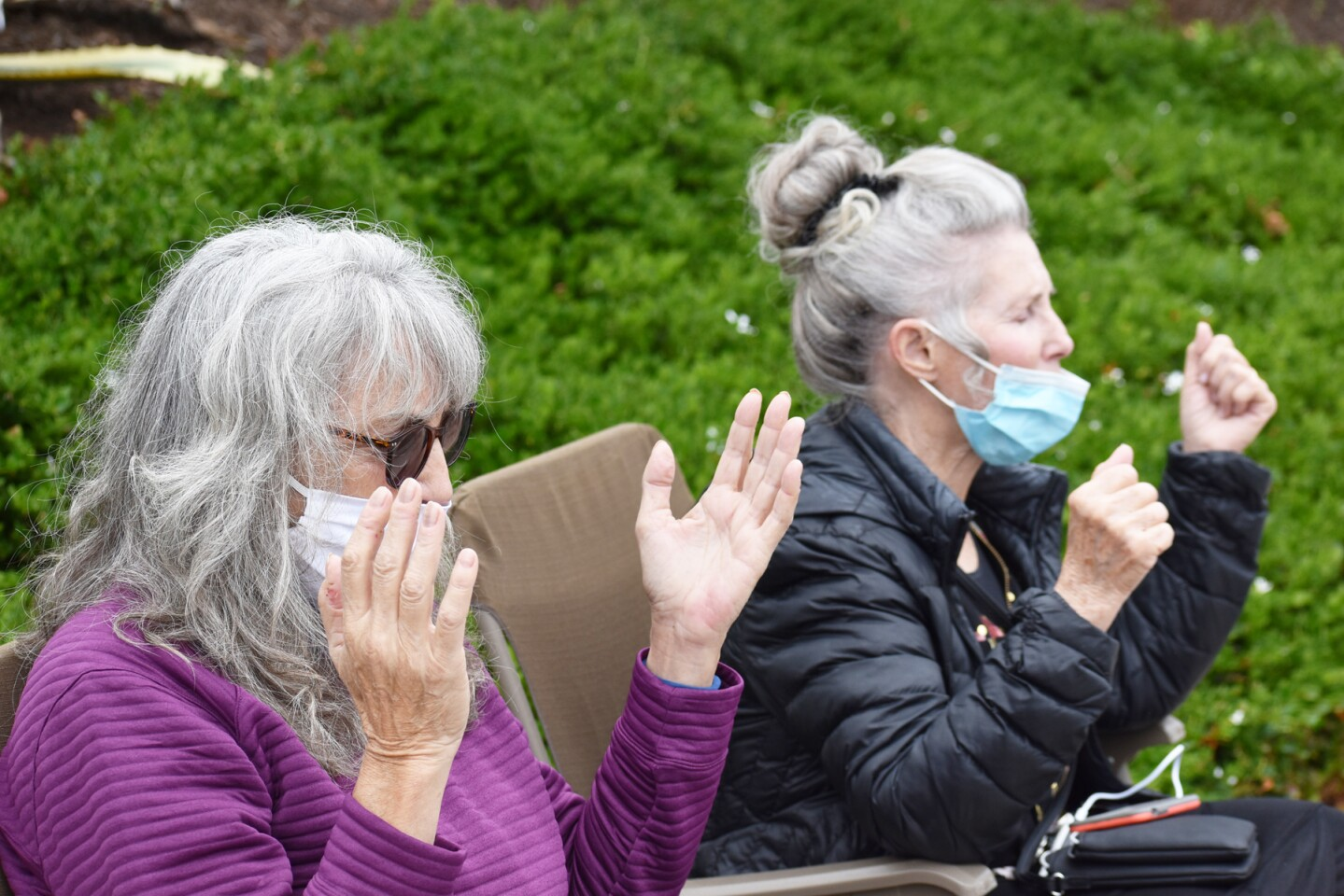 Participants praying along the blocks adjacent to Carmel Mountain Road and Rancho Carmel Drive intersection.