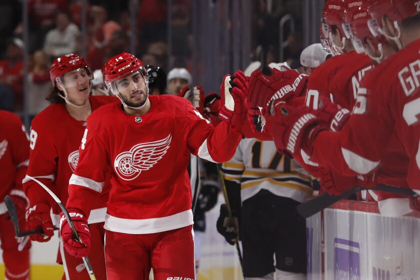 Red Wings center Robby Fabbri greets his teammates after scoring against the Bruins during the first period of a game Nov. 8.