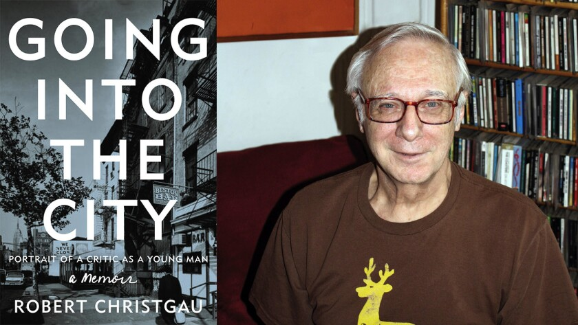 """Author Robert Christgau and the cover of the book """"Going into the City: Portrait of a Critic as a Young Man"""""""