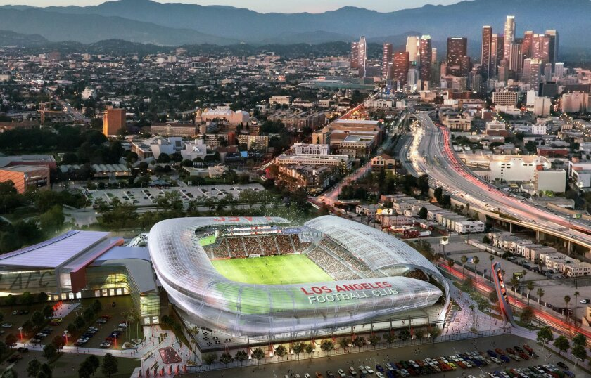 This undated image provided by Gensler shows an architectural rendering of a planned $250 million stadium, MLS, expansion of Los Angeles Football Club, LAFC, that would be built on the site of the Sports Arena next to Los Angeles Memorial Coliseum in South Los Angeles.