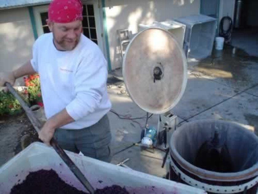La Jolla native Steve Haskins crushed grapes at Starr Ranch in Paso Robles, where his Deodoro and WindanSea wines are produced. Courtesy