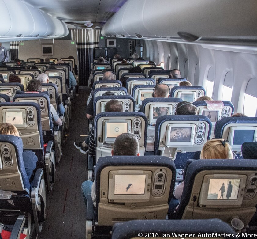 Air France Airbus A380's well appointed Economy cabin