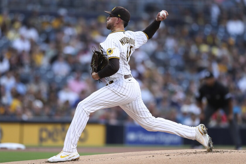 San Diego Padres starter Joe Musgrove delivers a pitch against the Colorado Rockies.