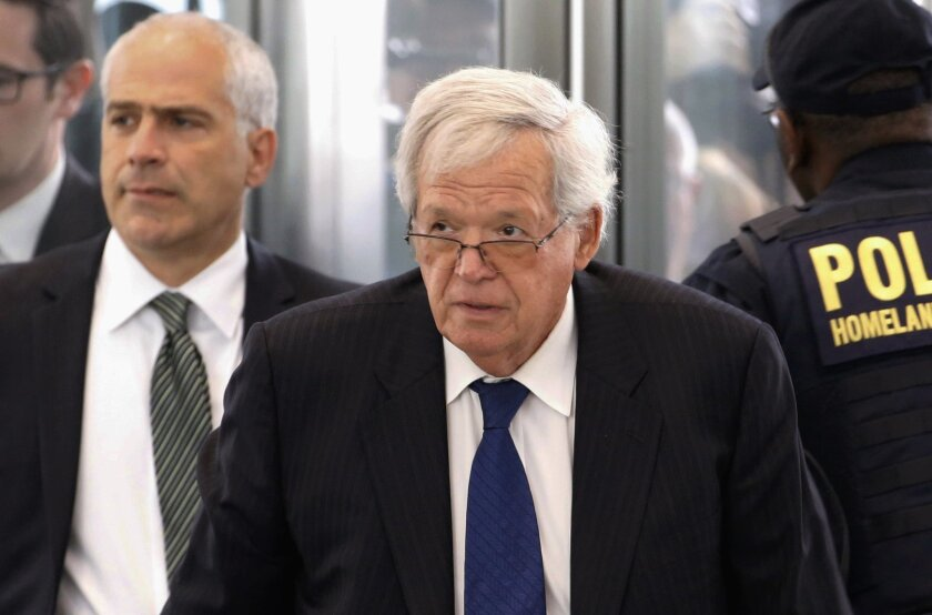 FILE - In this June 9, 2015 file photo, former U.S. House Speaker Dennis Hastert arrives at the federal courthouse in Chicago for his arraignment on federal charges that he broke federal banking laws and lied about the money when questioned by the FBI. On Thursday, Jan. 28, 2016, a federal judge is expected to rule on a request from Hastert's lawyers to delay a Feb. 29 sentencing in his hush-money case because he's recuperating from a stroke and other ailments. (AP Photo/Charles Rex Arbogast, File)