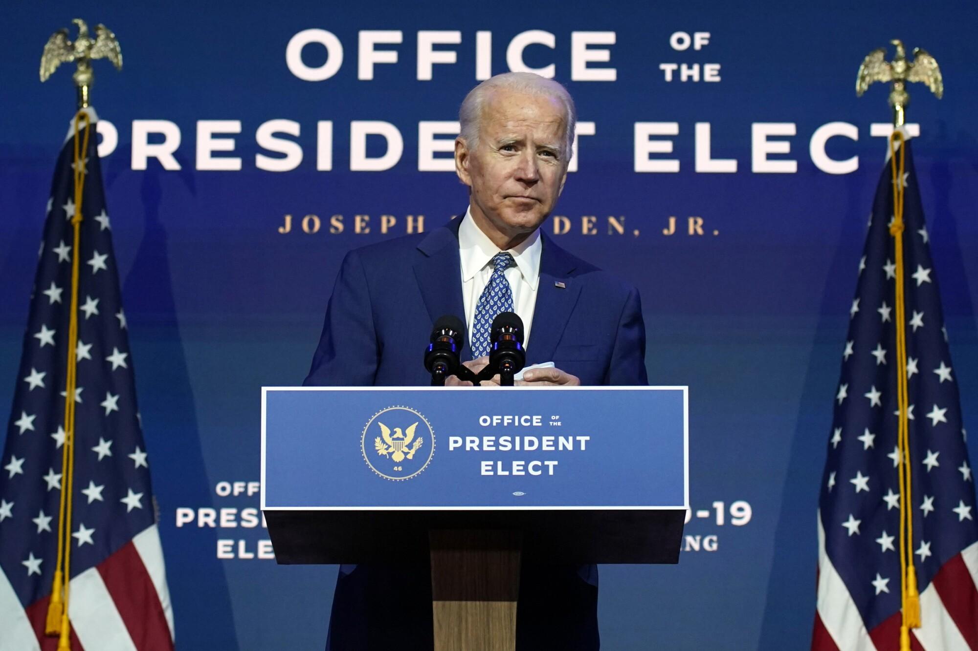 President-elect Joe Biden speaks at the Queen theater in Wilmington, Del.