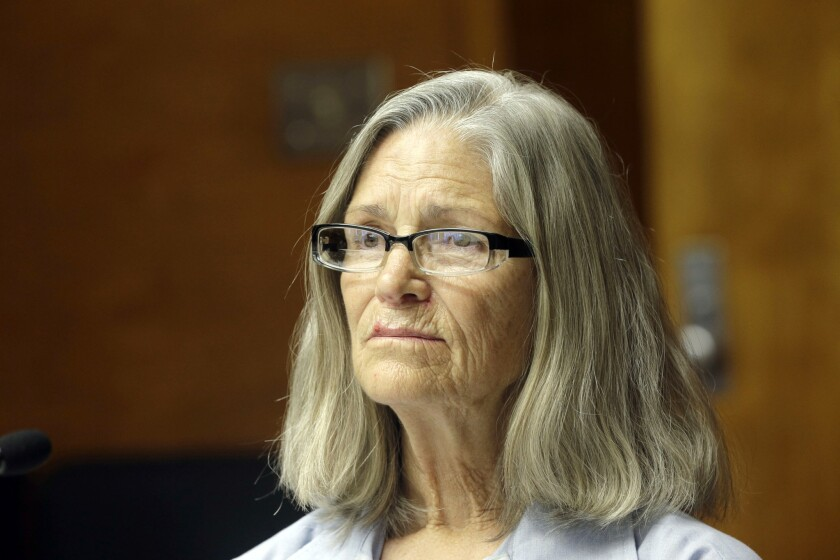 Leslie Van Houten appears during an April 14 hearing before the California Board of Parole Hearings at the California Institution for Women in Chino.